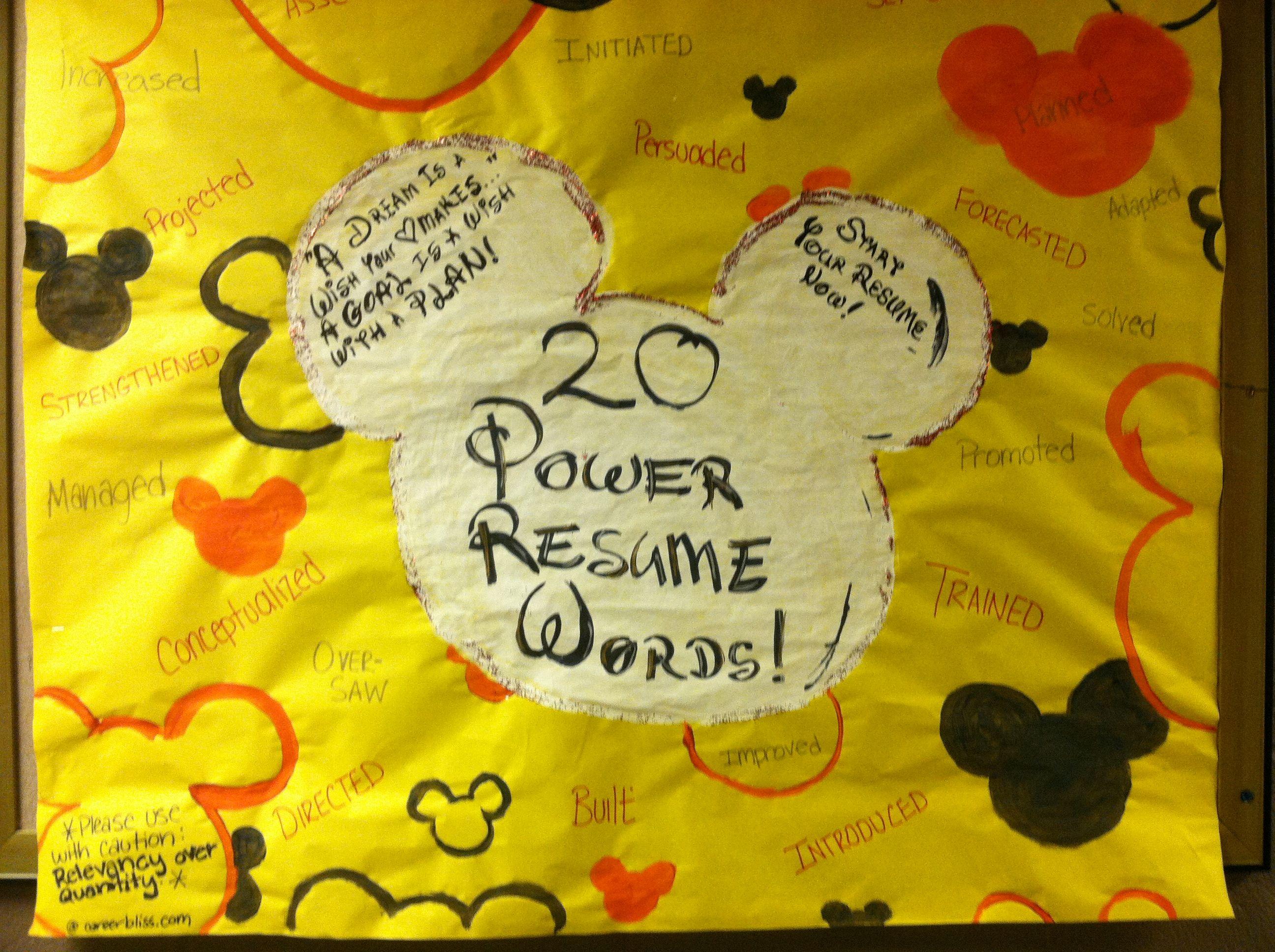 20 power resume words Disney themed bulletin board! | My Life as a ...