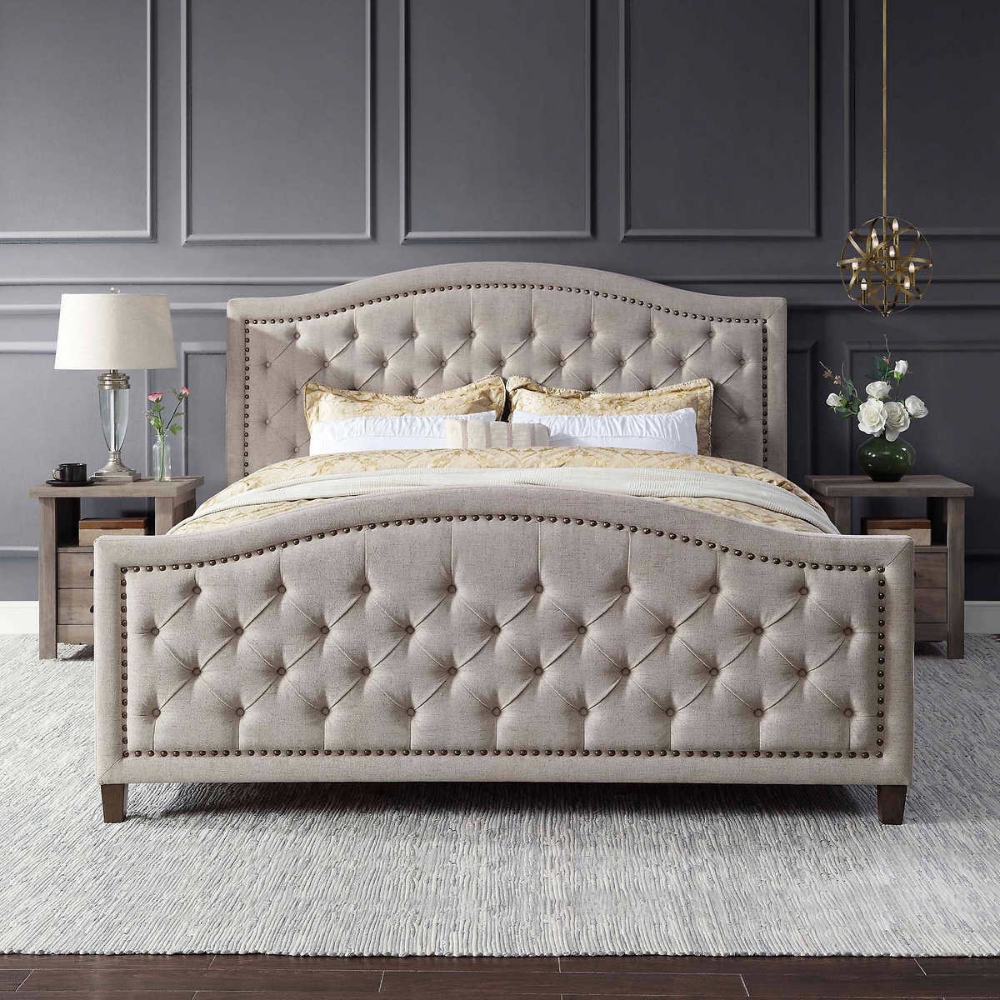 Thomasville Upholstered Bed Beige In 2020 Upholstered Beds