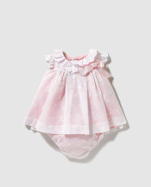 9704da4ca Vestido de bebé niña Dulces en blanco con lazo
