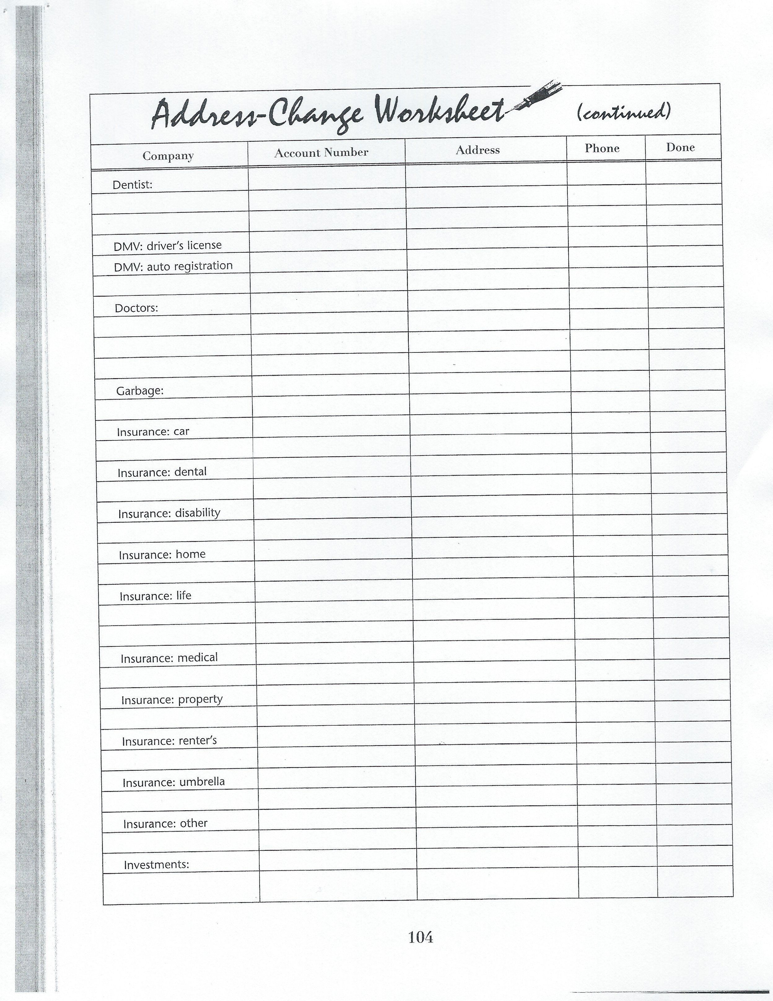 Address Change Worksheet   Bullet Journal  Dayplanner