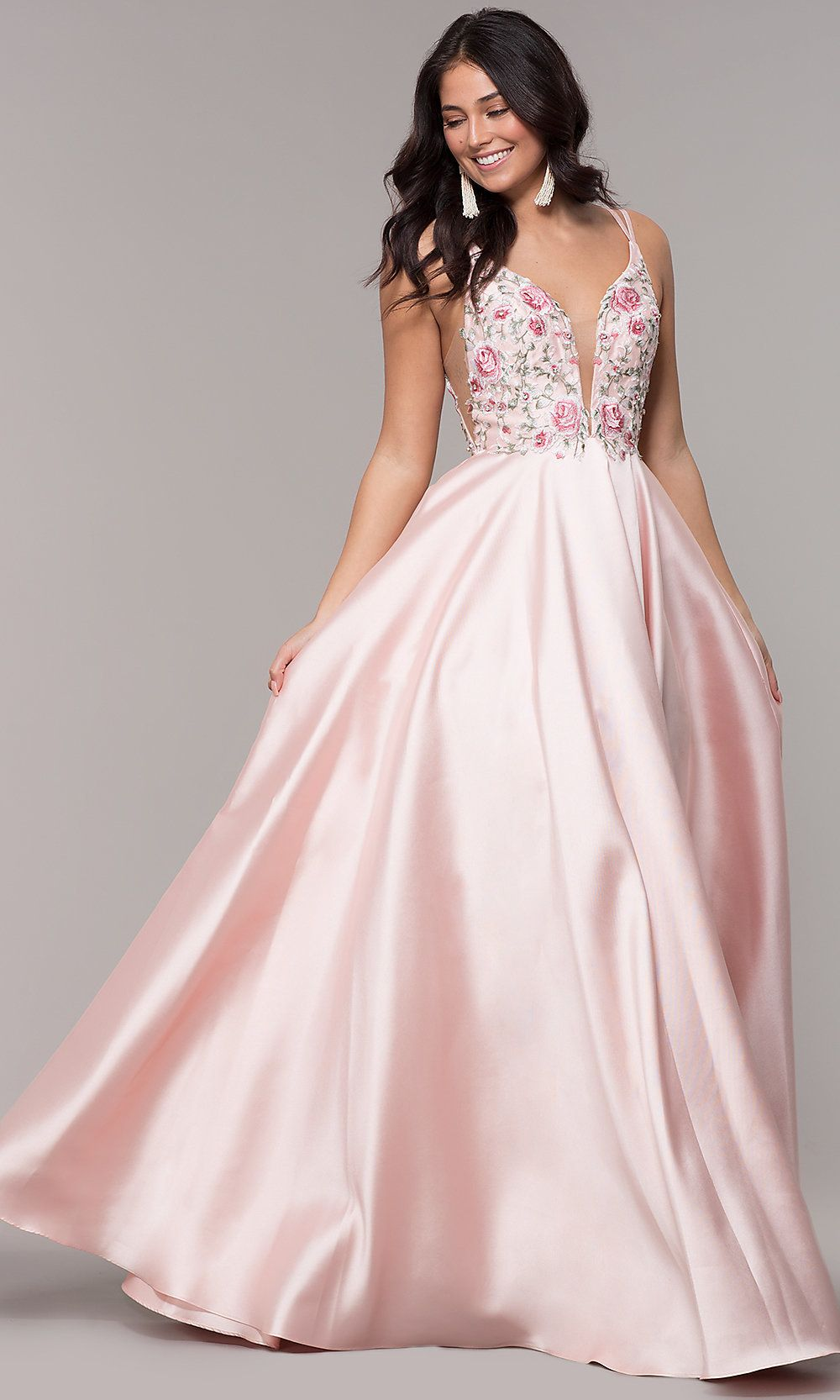 0fb5a97988c Embroidered-Bodice Long A-Line V-Neck Prom Dress in 2019