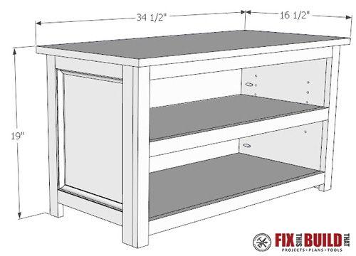 Diy Adjustable Shoe Storage Bench Fixthisbuildthat Bench With Shoe Storage Diy Storage Bench Shoe Storage Bench Entryway
