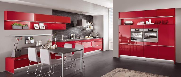 Hochglanzküche in rot | Nobilia küchen, Nobilia, Küchengalerie