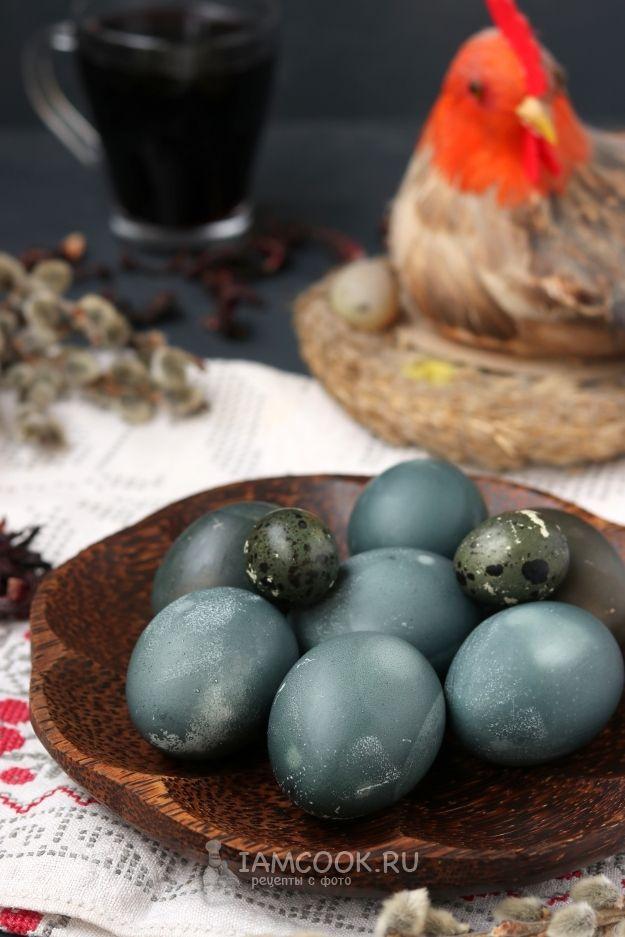 Покраска яиц на Пасху чаем каркаде | Рецепт в 2020 г ...