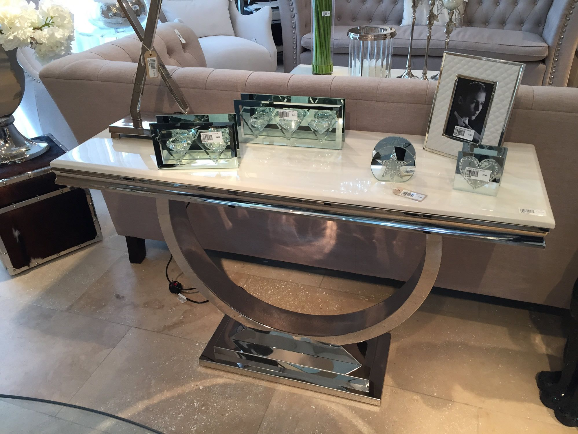 Cream Marble and Chrome U Shaped Console