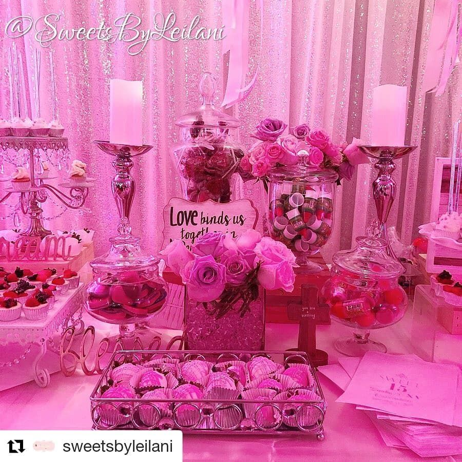 Beautiful table by @sweetsbyleilani 💕👍🙌 @sweetsbyleilani (@get_repost) ・・・ Zeneka's SWEET 15👸🏽🌸🧁✨ •dessert/candy table w/desserts by me💕 •florals by @pedalsonwheels 💕