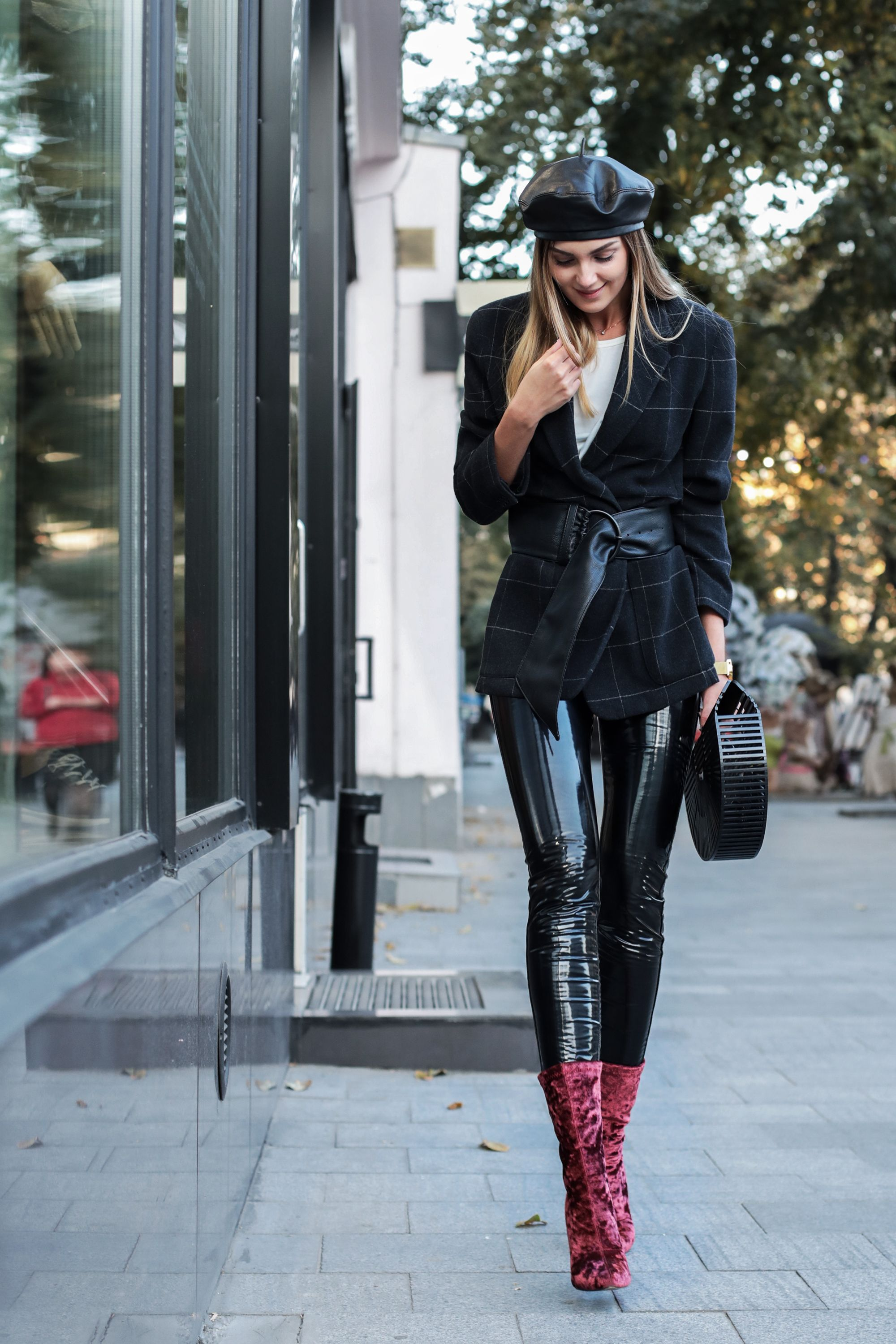 Sexy Street Style: a Leather Beret, matching Vinyl Pants ...