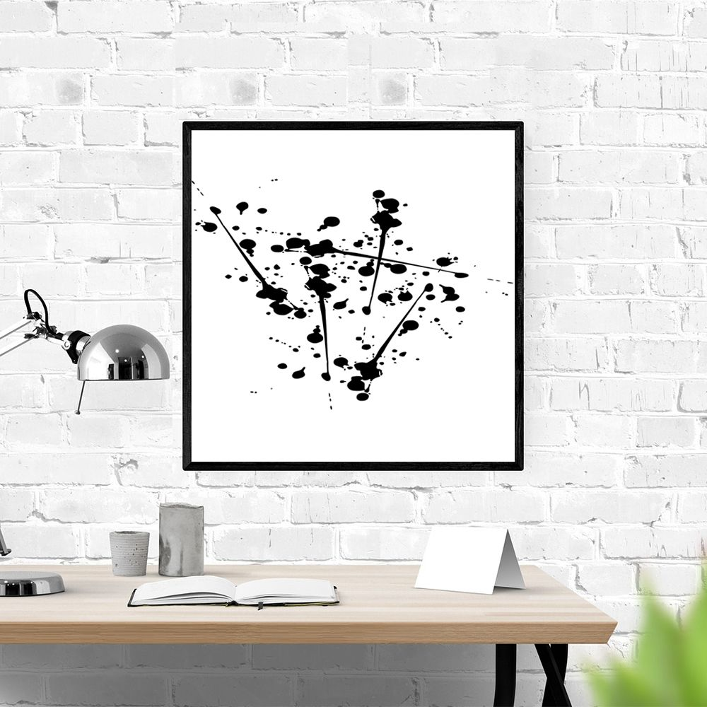 Original Black White Canvas Art In Dots Print Vertical Wall Art White Canvas Art Black And White Canvas