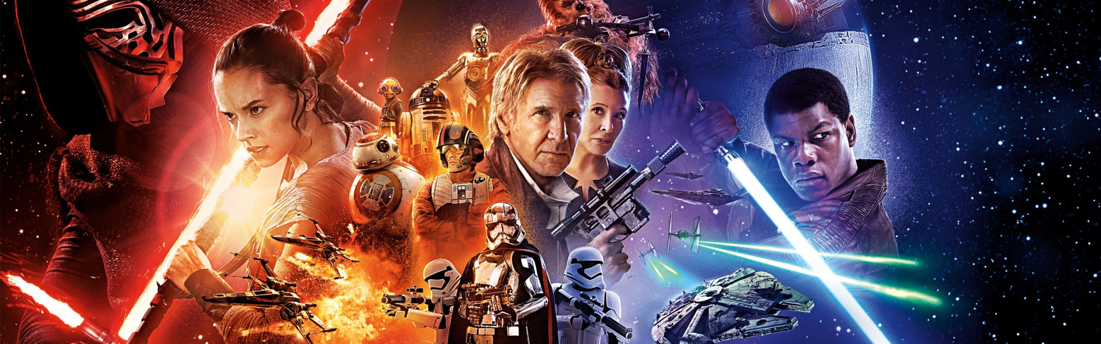 Dual Wide Star Wars Wallpapers Hd Desktop Backgrounds 3840x1200 Star Wars Poster Force Awakens Poster Star Wars Episodes