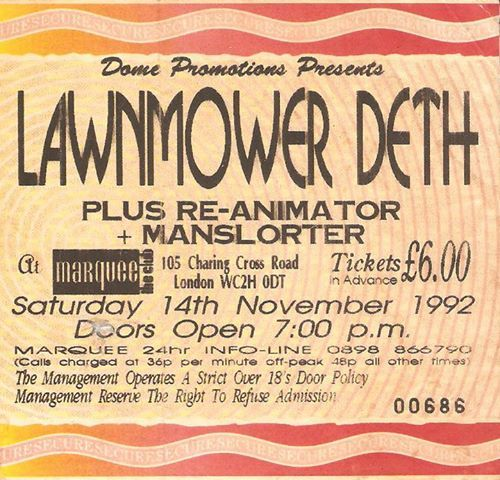 It's weird that 1992 is ancient... but oh well. Here's Lawnmower Deth with Re-Animator and Manslorter, winner of the silver metal for the planet's best band name behind Smash Potater (see Diamond Plate)