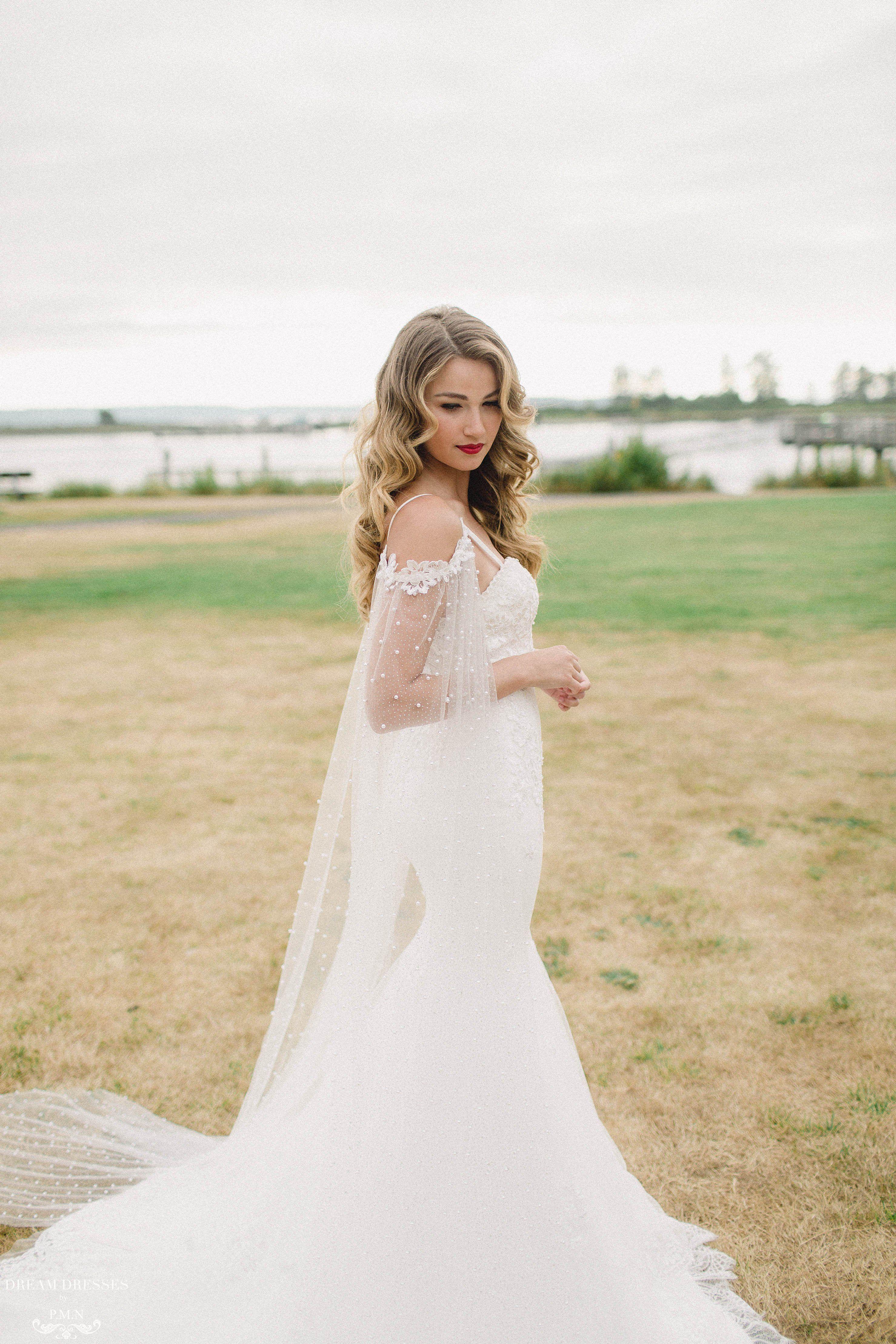 Detachable Bridal Sleeve Cape (ELAINA) Beaded wedding