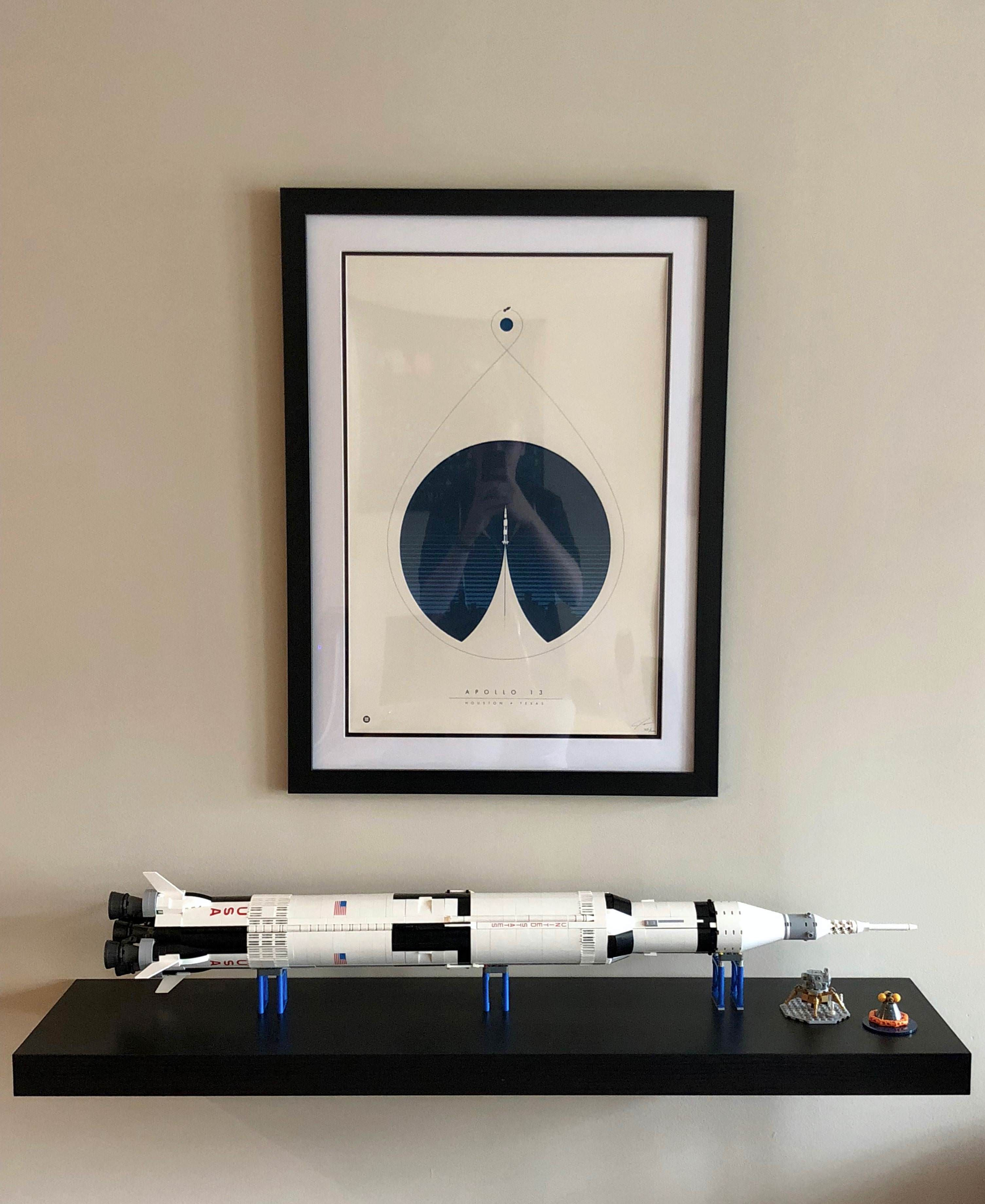Got The Nasa Saturn V Lego Set For Christmas Felt Like A Kid Again Matches My Apollo 13 Print Perfectly Lego Display Lego Sets Lego