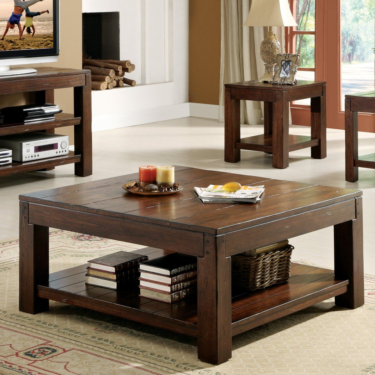 Best Riverside Castlewood Square Coffee Table Set Coffee 400 x 300