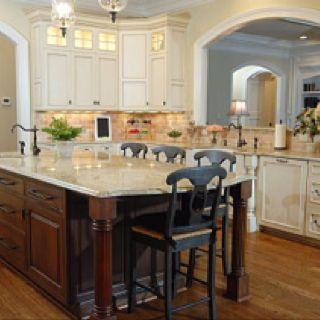 Cream Cabinets Brown Island Cream Counters Interior Design Kitchen Luxury Kitchen Design Luxury Kitchens