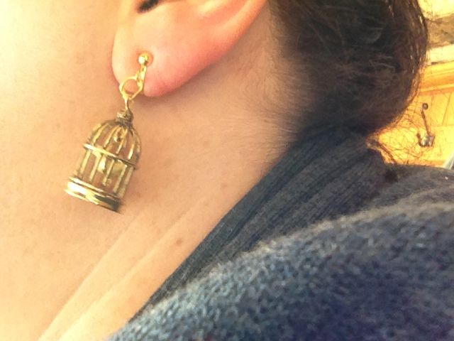 Found these little bird cages and made them into clip-on earrings!!