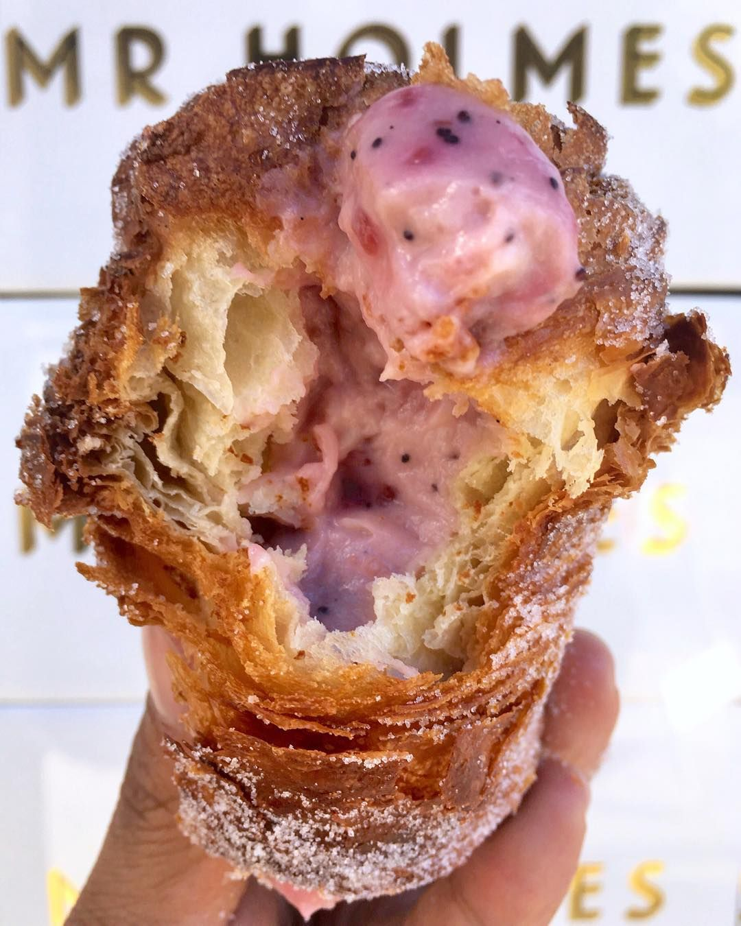 I got baked in San Francisco!  Finally got to try @mrholmesbakehouse's famous CRUFFIN (croissantmuffin) with @cyneats @jadednguyen and @charleesoumountha today!  This one's filled with raspberry vanilla and poppyseed. SO BOMB!  This is a MUST when in SF. CAN'T WAIT for this to come to LA next year!  : @dailyfoodfeed : @mrholmesbakehouse #: #dailyfoodfeed : Snapchat dailyfoodfeed  TAG YOUR FRIENDS  by dailyfoodfeed
