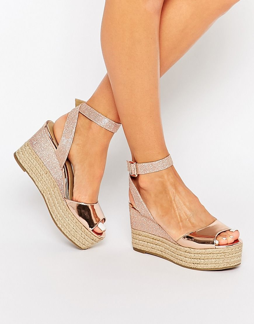 e906e17c522 Head Over Heels By Dune Kalmia Rose Gold Wedge Espadrille Sandals ...