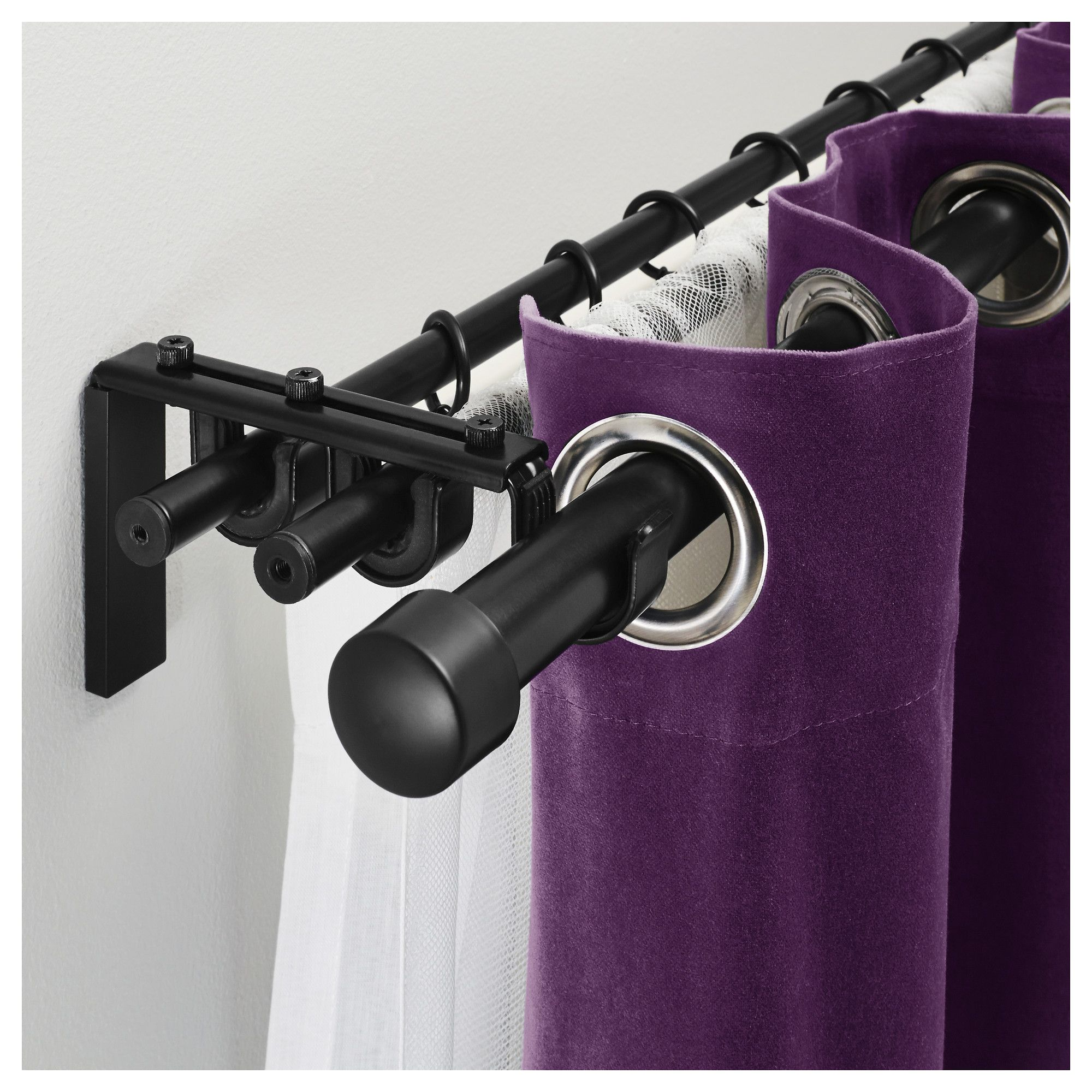 Racka Hugad Triple Curtain Rod Combination Ikea Double Rod