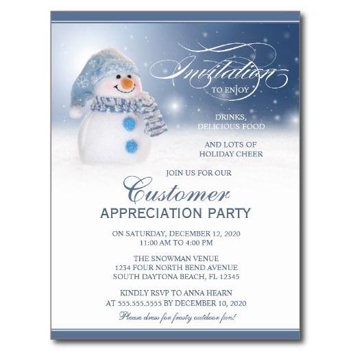 snowman customer appreciation invitation template postcard