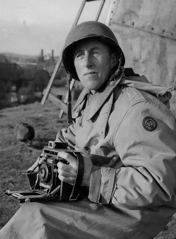 War Correspondent Eddie Worth with his medium format Speed Graphic camera.