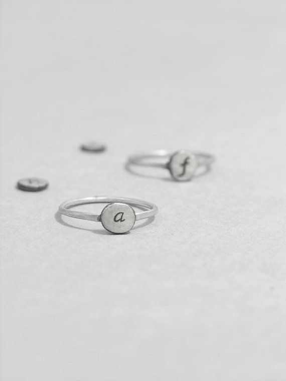 Letter Rings Personalised Circle Sterling Silver Tiny Hand