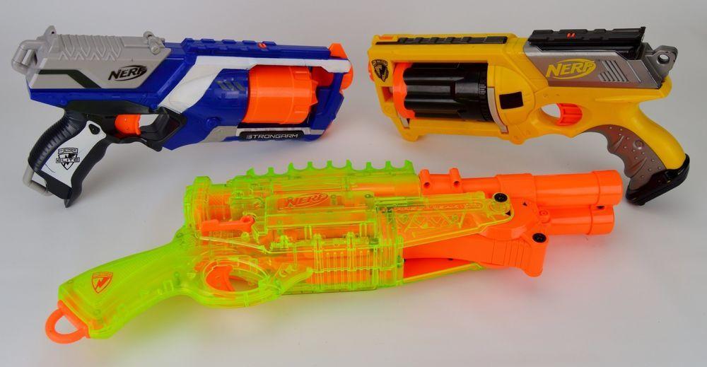 Nerf N-Strike Gun Lot of 3 Barrel Break IX-2 Strongarm Maverick Rev