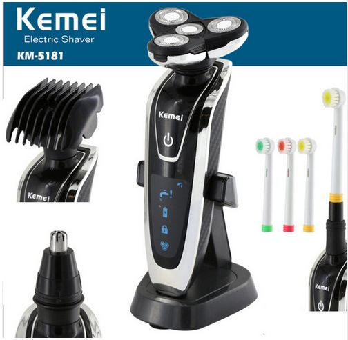 Km 5181 Original 4 In 1 Washable Rechargeable Electric Shaver Triple Blade Electric Shaving Razors Face Care Electric Shaver Men Shaving Razor Shaving Machine