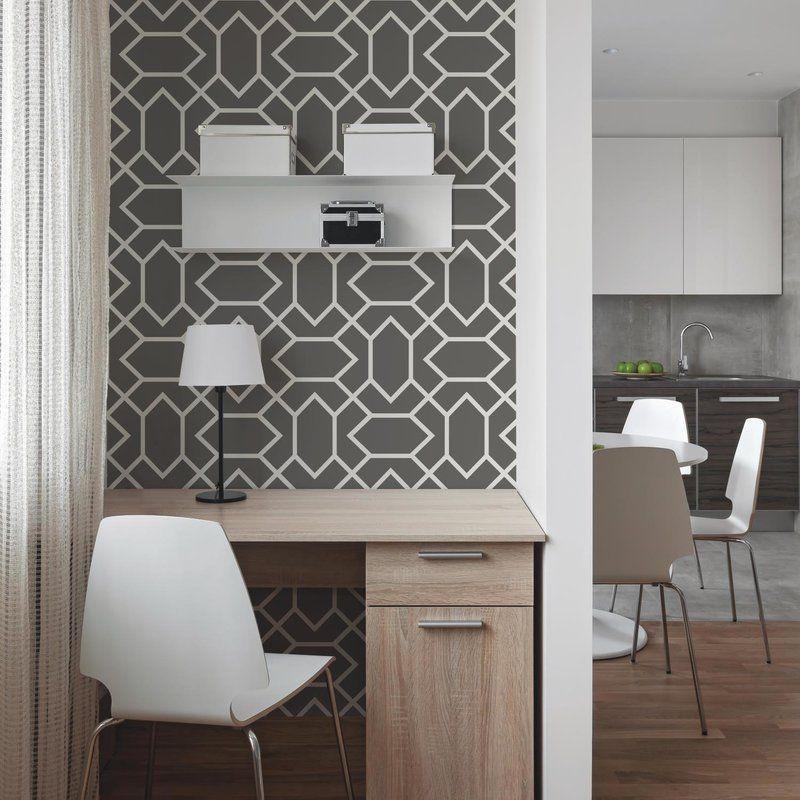 Runkle Modern 16 5 L X 20 5 W Geometric Peel And Stick Wallpaper Roll Peel And Stick Wallpaper Lowes Wallpaper Room Visualizer