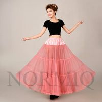 Fashion Dark Pink Color Long Tulle Petticoats Underskirt Bridal Skirt For Dresses Crinoline Wedding Clothes Slips Underskirts
