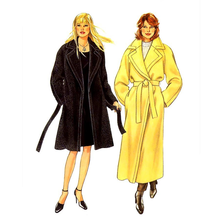 830 New Look 6802 Womens Coat with Tie Belt sizes 10 12 14 16 18 20 22 24 26 28 Vintage 80's Petite to Plus Size Sewing Pattern Uncut by ladydiamond46 on Etsy