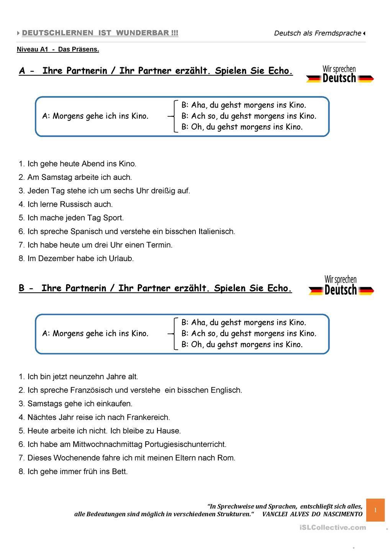 A1 - SPRECHEN - Spielen Sie Echo. | Worksheets