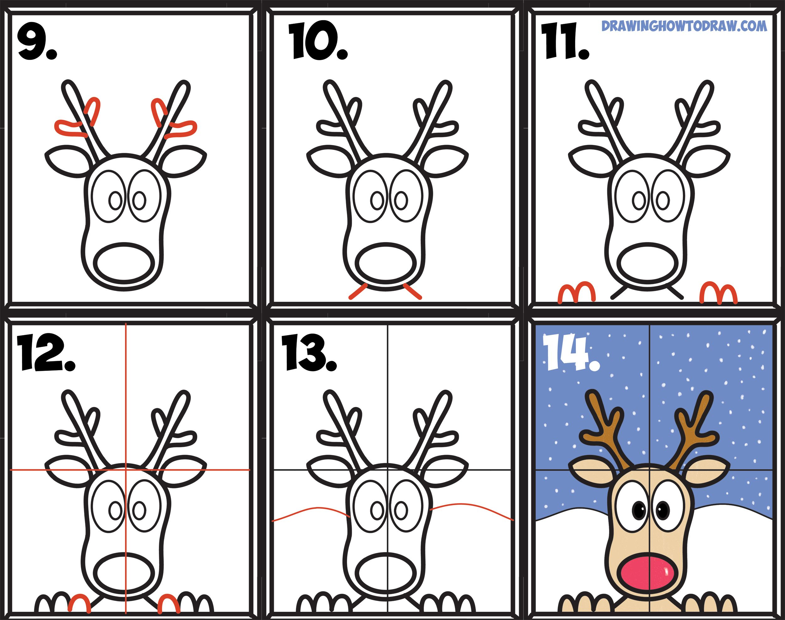 How to Draw Rudolph the Red Nosed Reindeer Looking in Window