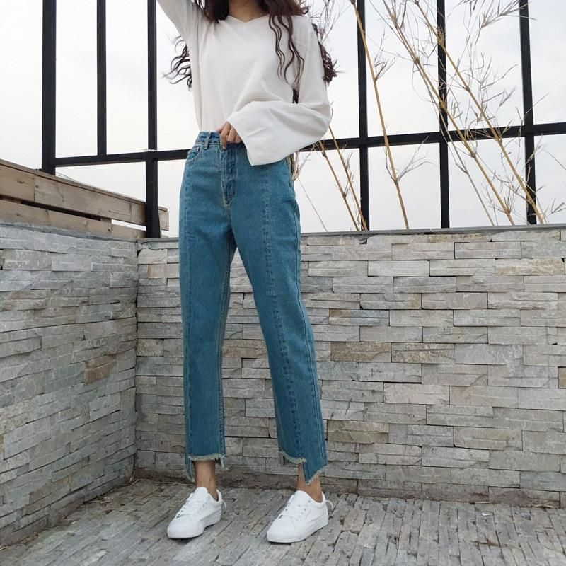 Asymmetrical straight jean pants women hole high waisted