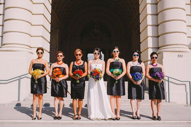 Bridesmaids Diffe Ribbon Belts Whimsical Rainbow Wedding Lisa Tien