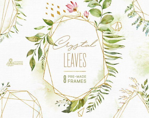 Crystal Leaves Frames Watercolor Floral Polygonal Pre Made