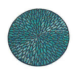 Amazon Com Teal Beaded Design Placemat 15 Quot Round 4 Piece Set Home Amp Kitchen Dekor