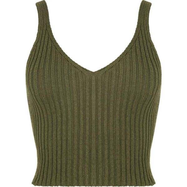 Ashley Ribbed Crop Top ($34) ❤ liked on Polyvore featuring tops, crop tops, shirts, tanks, shirts & tops, green crop top, ripped shirts, ribbed top and torn shirt