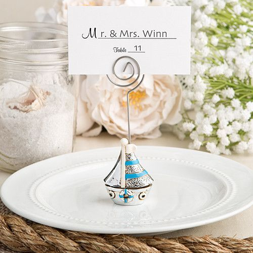 Nautical themed sail boat place card holder and photo frame | Place card