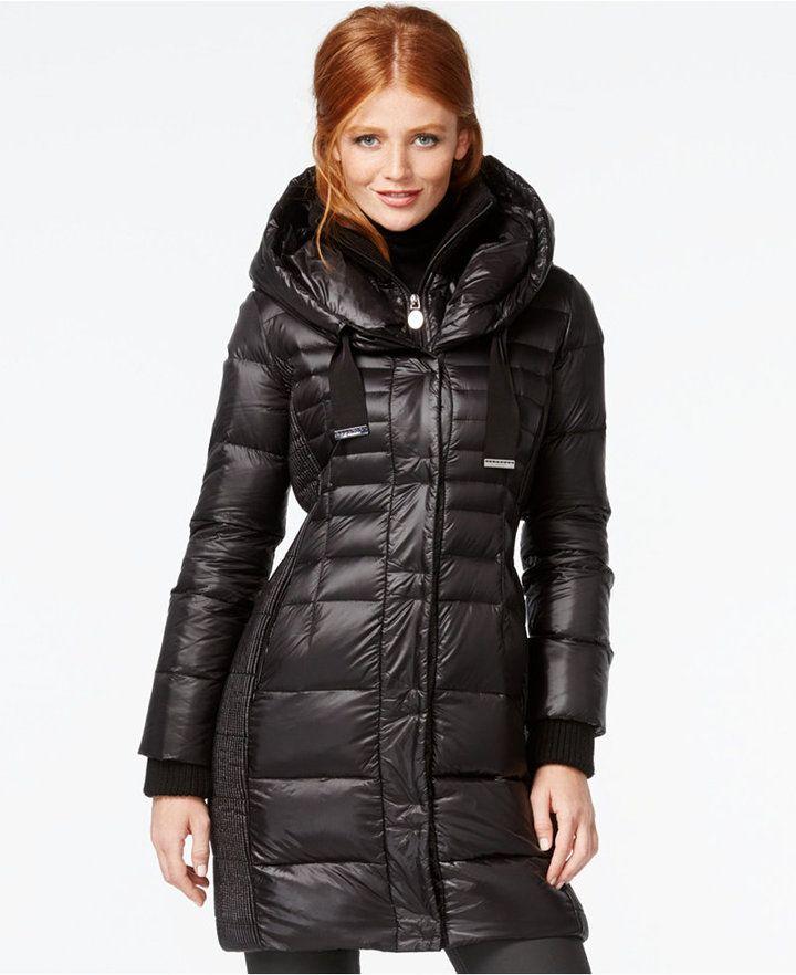 ec03f3dc69 Tahari Knit-Collar Contrast-Quilted Packable Down Coat | Women's ...