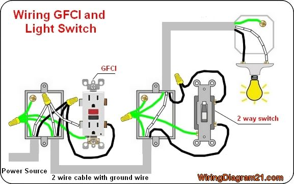 gfci outlet wiring diagram electrical tips pinterest diagram rh pinterest com Double Switch with GFCI Outlet Wiring Wiring Multiple GFCI Outlet with Switch