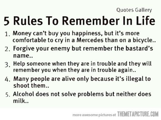 Simple Rules Of Life Sayings Funny Pinterest Funny Quotes