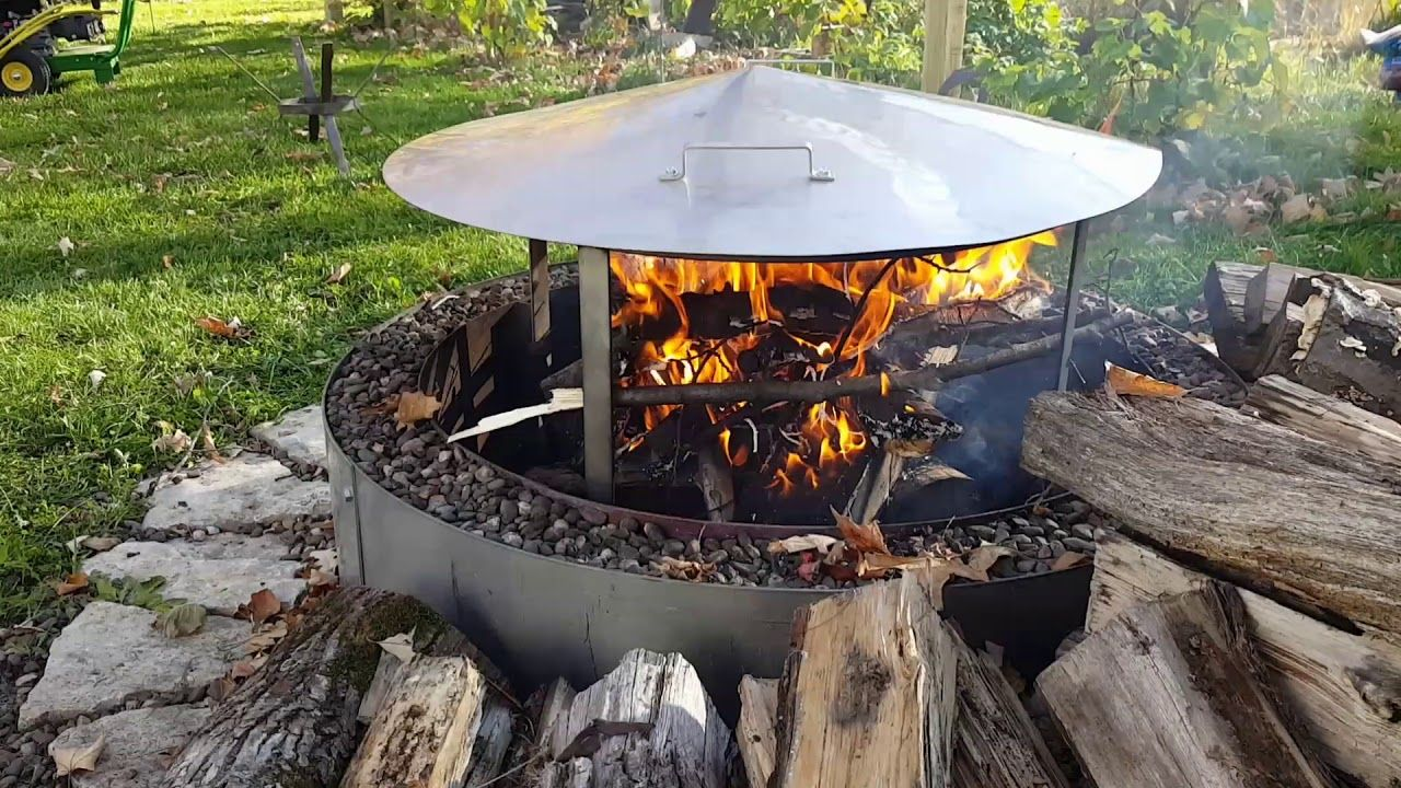 Fire Pit Heat Deflector Cover & Frame. Works with wood or