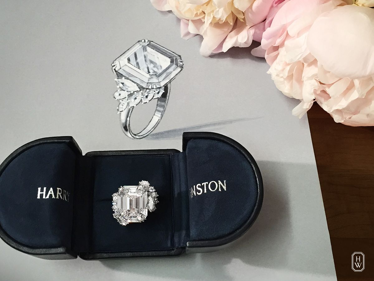 A Custom Designed 27 Carat Engagement Ring Is Revealed At The Harry Winston Harry Winston Engagement Rings Harry Winston Ring Designer Engagement Rings Custom