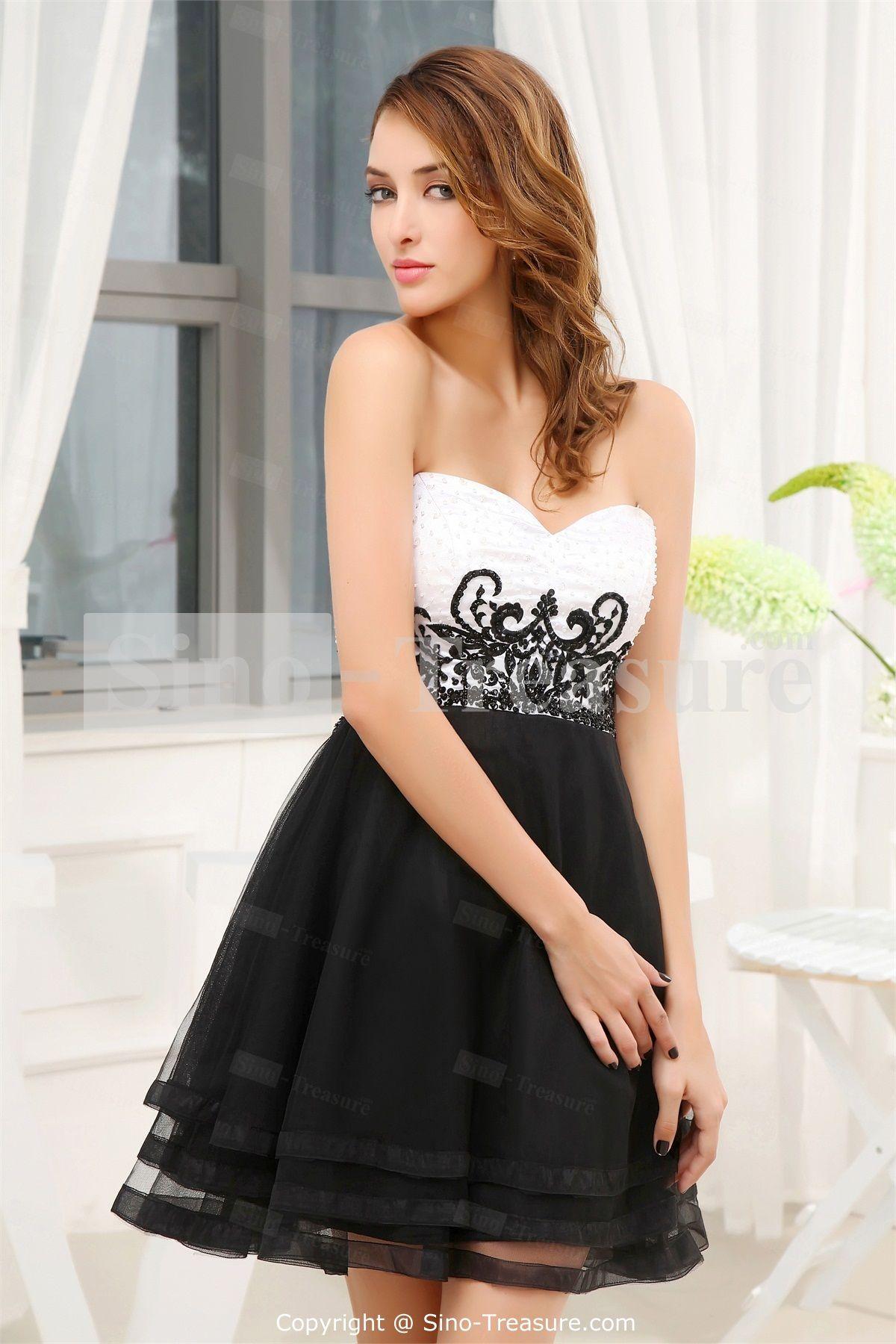White And Black Short Wedding Dresses Plus Size