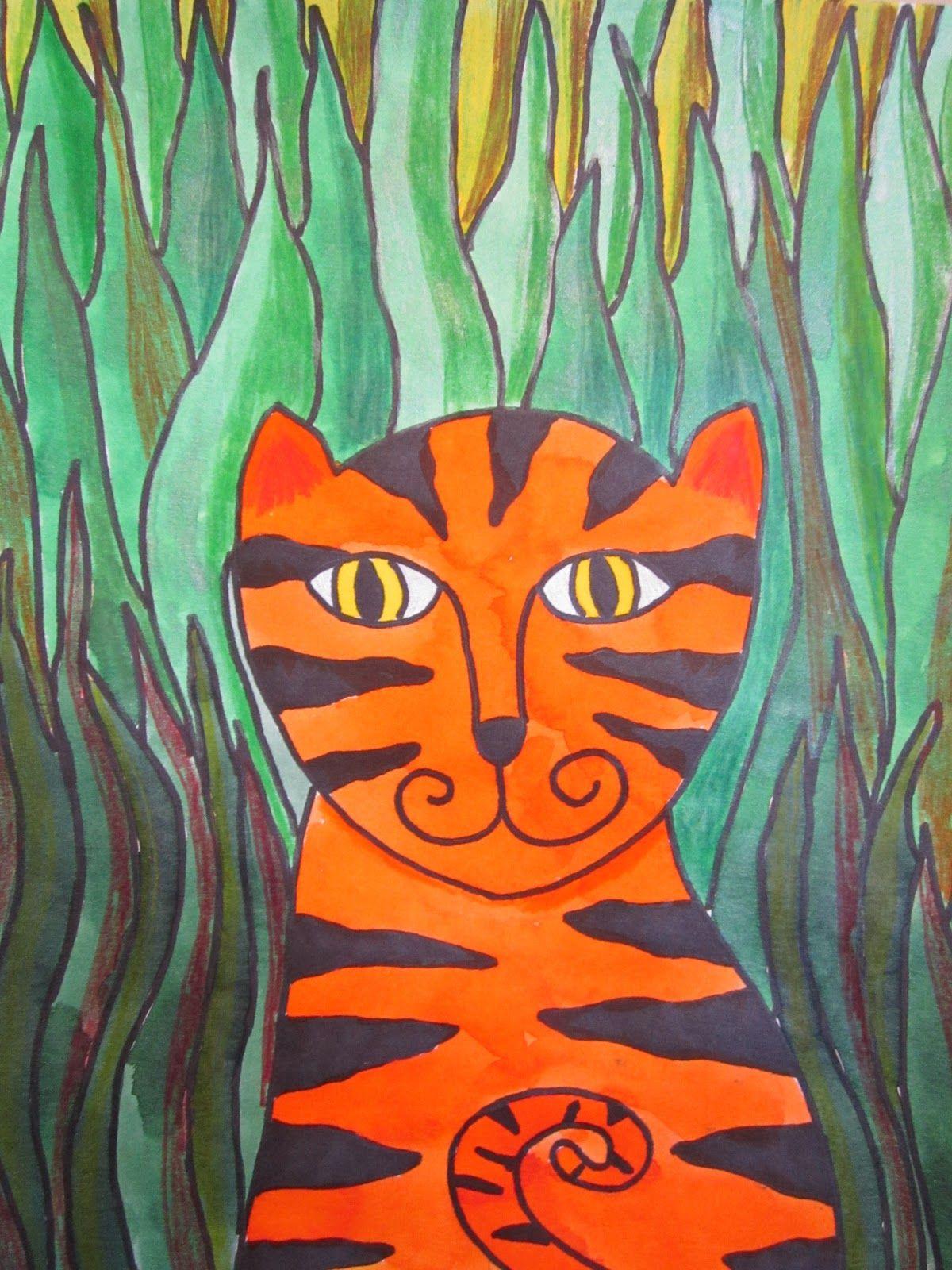 Henri Rousseau For Kids Google Search Tiger Art Animal Art Elementary Art Projects