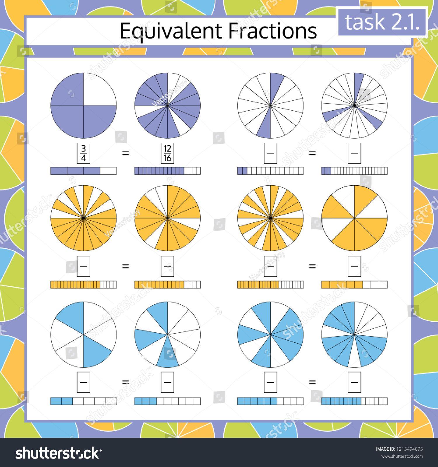 Equivalent Fractions Mathematical Worksheet Circles Math