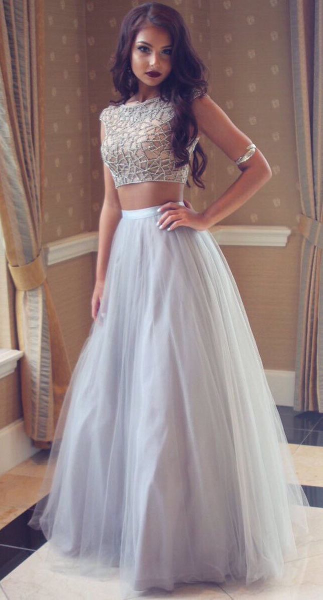 Chic Two Piece Silver Prom Dress - Bateau Cap Sleeves ...