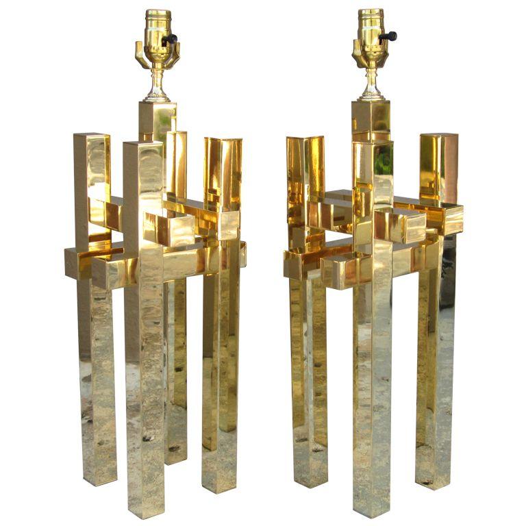 Pair of Brass Geometric Sciolari Lamps   1stdibs.com