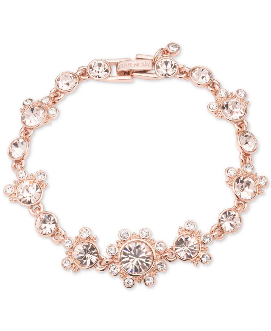 Givenchy Rose Gold Tone Multi Crystal Link Bracelet Bracelets Jewelry