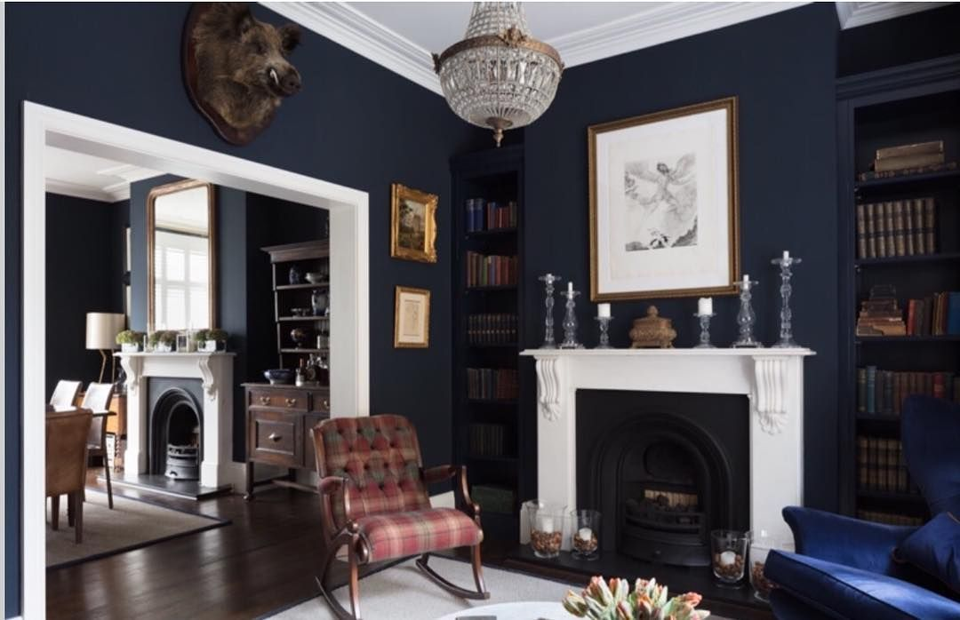 Old New Borrowed And Blue A Reupholstered G Plan Wing Chair And An Early 20th Century Rocking Dark Living Rooms Victorian Living Room Dark Blue Living Room Dark colors old living room